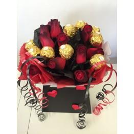 Valentine's Ferrero Bouquet With Dozen Red Roses