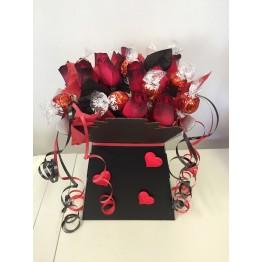 Valentine's Lindor Bouquet With Dozen Red Roses
