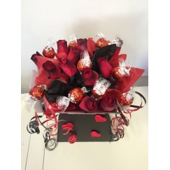 Valentine's Lindor Bouquet With Dozen Red Roses