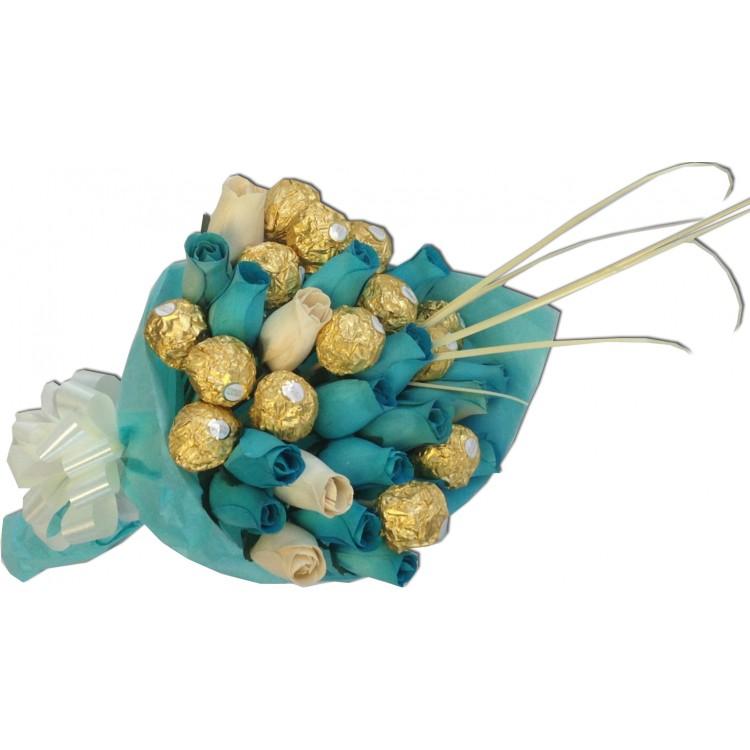 Blue Ferrero Rocher Rose bouquet