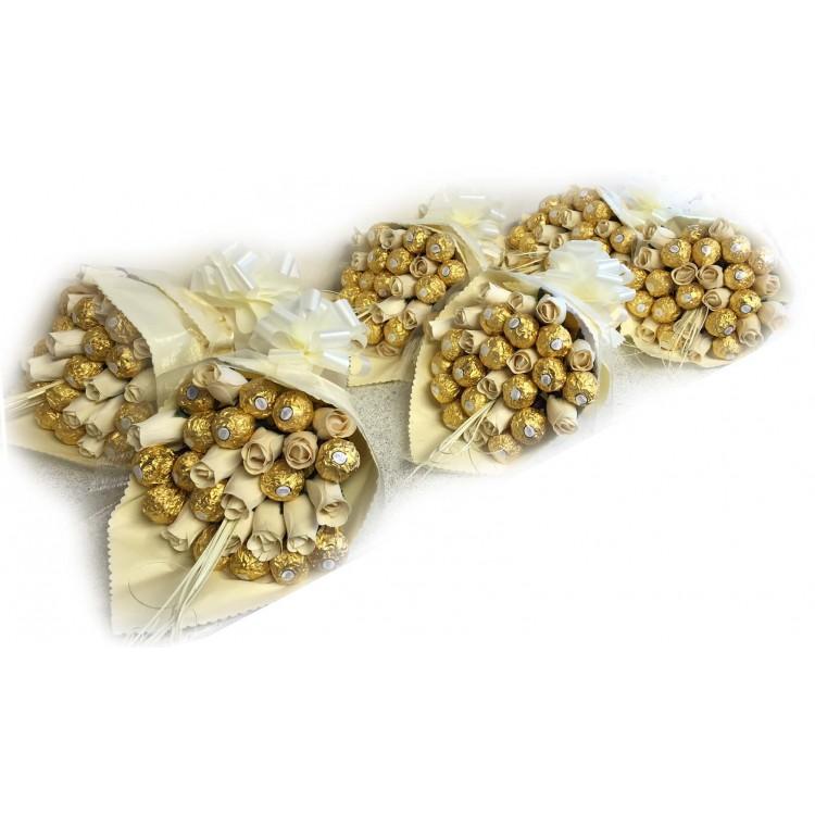 Ivory / Cream Ferrero Rocher Rose Bouquet