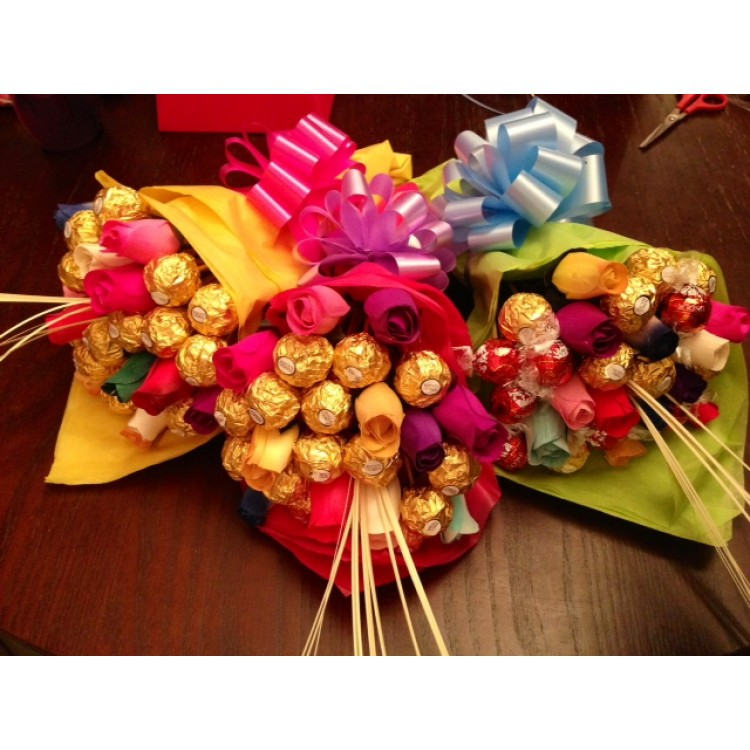 Multi coloured Ferrero Rocher Rose Bouquet