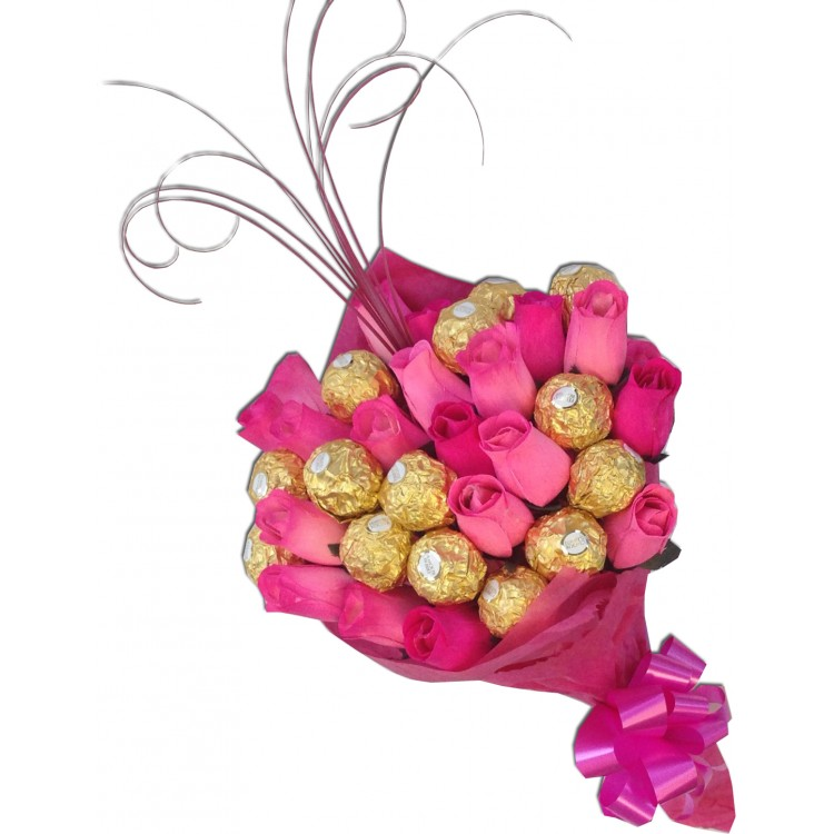 Pink Ferrero Rocher Rose Bouquet