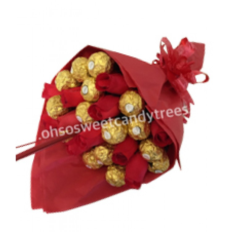 Red Ferrero Rocher Rose Bouquet